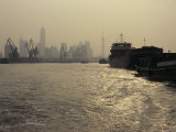 Barges on the Huang Pu River with Pudong in the Background