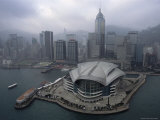 Aerial View of the Hong Kong Convention Center and Wan Chai Skyline