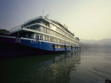 Large Tourist Riverboat Is Moored at a Yangtze River Dock