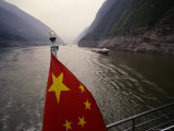 Chinese Flag in the Stern of a Boat on the Yangtze River