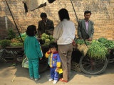 A Chinese Mother Purchases Vegetables from a Street Vendor