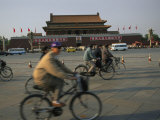 Cyclists Blur by Tiananmen Square