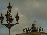 A Lamp Post and Statue of a Horse and Chariot in Dvortsovaya Square