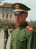 Soldiers Stand Guard in Front of Tiananmen Square