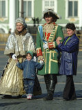 Tourists Pose with Catherine the Great and Czar Alexander Actors