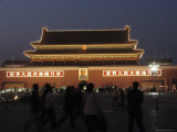 Tourists Stand in Tiananmen Square in Front of the Meridian Gate