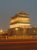 Floodlit Gate on Tiananmen Square with Car Light Streaks