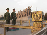 Soldiers Stand Guard at the Tomb of Mao Zedong in Tiananmen Square