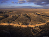 Aerial View of Chaco Canyon and Ruins of Ancient Pueblo Dwellings