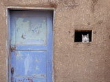 Next to a Blue Door  a Cat Peers Out of the Window of an Adobe House