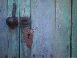 An Antique Lock on a Blue Door