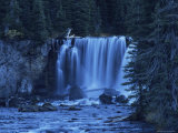 Twilight View of Colonnade Falls and Surrounding Evergreen Forest