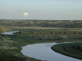 The Meandering Missouri River Under a Full Moon Rising  Montana