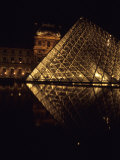 A Night View of the Im Pei Pyramid at the Louvre  Paris  France