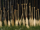 Oars Are Propped Against a Fence  Old Fort William  Thunder Bay  Ontario  Canada
