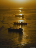 The Sun Setting over Boats in Los Angeles Harbor