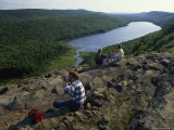 Hikers at Cloud Peak in the Porcupine Mountains Wilderness State Park of Michigan