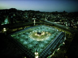 Thousands of Pilgrims Circle the Kaaba at Night  Mecca  Saudi Arabia