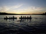Canoeing on Saint Regis Pond at Sunset  Adirondack Mountains  New York