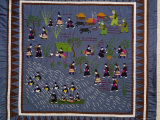 This Quilt  of the Hmong  Depicts Villagers Driven from Their Homes by Communist Forces in Vietnam