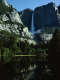 Yosemite Falls Behind a Still Lake  California