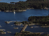 Aerial View of a Yacht Sailing in the Aland Islands  Finland