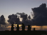 Ancient Statues Are Silhouetted Against a Sunset Sky  Ahu Vai Uri  Tahai  Easter Island