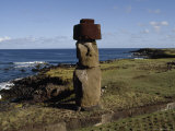 Lone Moai Stands on an Elevated Platform  Ahu Tahira  Vinapu Cove  Easter Island