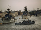 Soviet Warships and a Patrol Craft Prepare for Inspection on Navy Day 1988