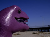 A Purple Dinosaur Eyes Humans on the Atlantic City Boardwalk