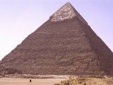 Camel Riders Give Scale to the Monumental Chephren Pyramid at Giza