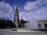 The Fountains of the Plaza De Espana in Seville on a Summer Day  Plaza De Espana  Seville  Spain