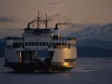 Early Morning Ferry Leaves Seattle  Washington for Bainbridge Island