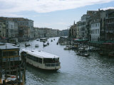 A Crowded Grand Canal with a Water Bus in the Foreground in Venice  Italy