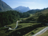 A Curving Mountain Road Outside St Moritz in the Engadin Valley