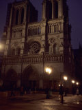 Notre Dame Cathedral on a Winter Evening  Paris  France