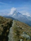 View Down a Trail Towards the Cloud-Shrouded Matterhorn