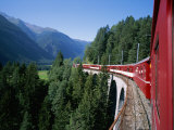 The Glacier Express Crosses a Bridge in Switzerland
