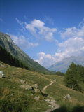 A Hiking Trail in the Engadin Valley Near Saint Moritz  Switzerland