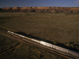 The Southwest Chief Train Heads West from Albuquerque  New Mexico