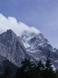 The Highest Mountain in Germany Der Zugspitze Peak Shrouded in Fog  Garmisch Partenkirchen  Germany