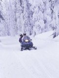 Snowmobiler at Big Mountain  Whitefish  Montana  USA