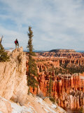 A Solitary Hiker Looks Out Over the Bryce Amphitheater from a Cliff  Bryce Canyon National Park  UT
