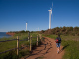 A Man Walks Along a Path Near Wind Turbines