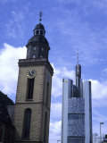 New and Old Stand Next to Each Other in the Business Capitol of Europe  Frankfurt  Germany