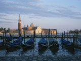 A View of the San Giorgio Maggiore Church and Moored Gondolas