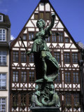 The Lady of Justice and Her Scales in the Old Section of Frankfurt  Germany