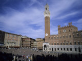 The Piazza Del Campo on a Summer Day with a Few Tourists Around  Siena  Tuscany  Italy
