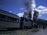 A Steam Engine Idles at a Station on a Summer Day  Cumbres Pass  Colorado