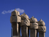The Strangely Shaped Rooftop Chimneys of La Pedrera Designed by Gaudi  Barcelona  Spain